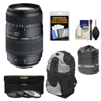 Tamron 70-300mm f/4-5.6 Di LD Macro 1:2 Zoom Lens with 3 UV/CPL/ND8 Filters + Sling Backpack + Pouch + Accessory Kit for Canon EOS 6D, 70D, Rebel T3, T3i, T4i, T5, T5i, SL1 Digital SLR Cameras