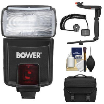 Bower SFD926N Digital Autofocus Power Zoom TTL / i-TTL Flash + Bracket & Cord + Batteries + Kit for Nikon D3200, D3300, D5200, D5300, D7000, D7100, D610, D800, D4s DSLR Cameras