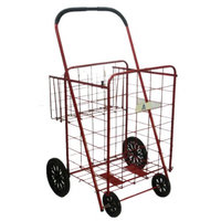 Storage Cart: ATHome Wheeled Cart with Basket - Red