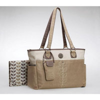 Carter's Suede Embroidered Tote Bag, Tan (Discontinued by Manufacturer)