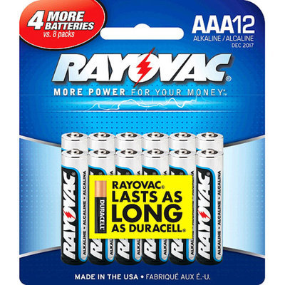 Rayovac Alkaline Batteries, AAA, 12/ Pack