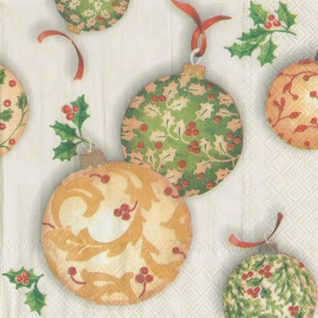 Ideal Home Range 4 Packs Paper Lunch Napkins Holly Ornaments Cream