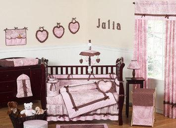 Jojo Designs, Llc. Sweet Jojo Designs Pink and Brown Toile Collection 9pc Crib Bedding Set