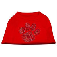 Mirage Pet Products 5254 MDRD Blue Paw Rhinestud Shirt Red M 12