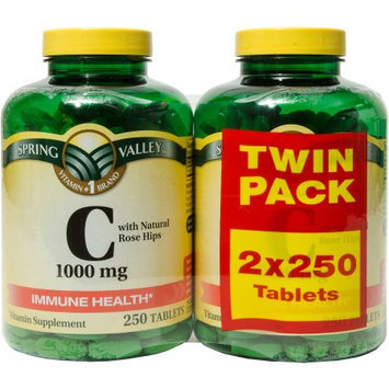 Spring Valley Vitamin C with Rose Hips Vitamin Supplement Tablets, 1000mg, 250 count, (Pack of 2)