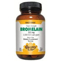 Country Life Triple Strength Bromelain, 500 mg., 2,000 GDU per gram, Tablets, 30-Count