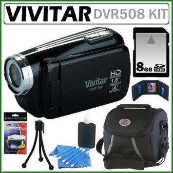 Vivitar DVR508 HD Digital Video Camcorder in Black + 8GB Kit