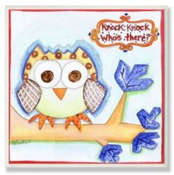 Stupell Industries BRP-1063 Owl Knock Knock Whos There Square Wall Plaque