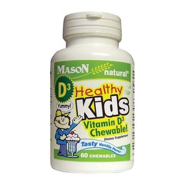 Mason Vitamins Healthy Kids Vitamin D3 A Tasty Chewable Vanilla Flavor, 60-Count, (Pack of 3)