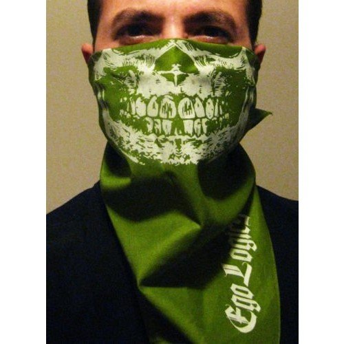 Eco SKULL JAWBONE BANDANA OLIVE FACE MASK PAINTBALL ARMY CAMO GRILL FACE