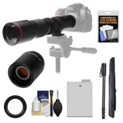 Vivitar 500mm f/8.0 Telephoto Lens with 2x Teleconverter (=1000mm) + LP-E8 Battery + Monopod + Accessory Kit for Canon EOS Rebel for Rebel T3i, T4i, T5i Digital SLR Cameras