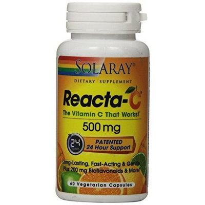 Solaray Reacta C with Bioflav Vitamin Capsules, 500 mg, 60 Count