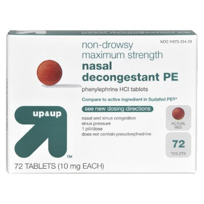 up & up up&up Maximum Strength Nasal Decongestant Non-Drowsy 10 mg Tablets -