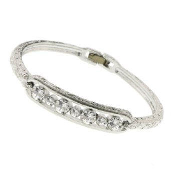 1928 Jewelry Silver-Tone Crystal Bangle Bracelet, 1 ea