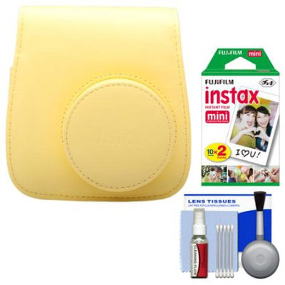 Fujifilm Groovy Camera Case for Instax Mini 8 (Yellow) with 20 Twin Prints + Cleaning Kit