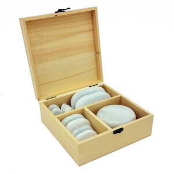 Vandue Corporation 14pc Massage Marble Cold Stone Therapy Set w/Bamboo Case