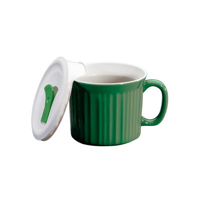 World Kitchen CorningWare French White 20 Ounce Pop-Ins Soup Mug - Green