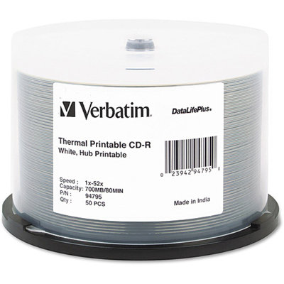 Verbatim 94755 50 Pack 52X CDR White Printable Spindle