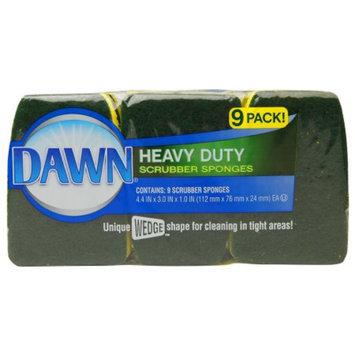 Dawn Heavy Duty Scrubber Sponges, Green/Yellow, 9 ea
