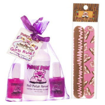 Rockhouse Industries, Inc Piggy Paint Girls Rule! Non-Toxic Nail Polish, Polish Remover with