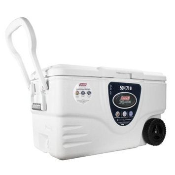 COLEMAN Camping Tailgating Marine 50 Quart Xtreme 5 Day Ice Chest Cooler White