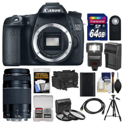 Canon EOS 70D Digital SLR Camera Body with 75-300mm III Lens + 64GB Card + Case + Flash + Battery/Charger + Tripod Kit
