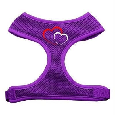 Mirage Pet Products 7011 LGPR Double Heart Design Soft Mesh Harnesses Purple Large