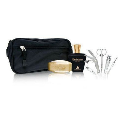 Pheromone by Marilyn Miglin for Men 8 Piece Set Includes: 1.7 oz Cologne Spray + 5.25 oz Soap Bar + 5 pc Grooming Kit + Toilettry Bag