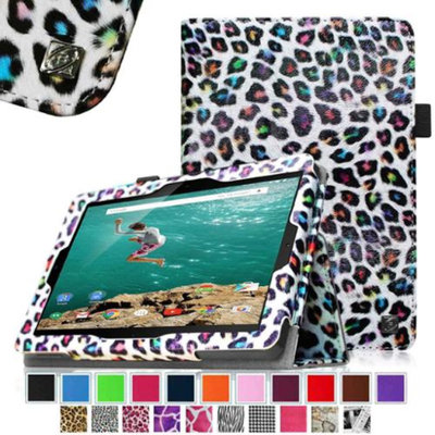 HTC Nexus 9 Case - Fintie Slim Fit Folio Cover for HTC Nexus 9 Tablet (8.9-Inch 2014 Model) by Google, Leopard Rainbow