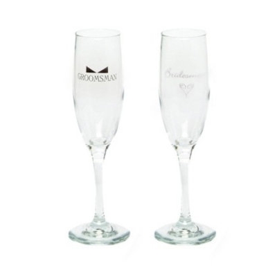 Hortense B. Hewitt Bridesmaid and Groomsman Champagne Flutes