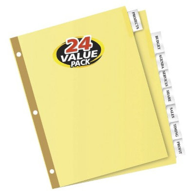 Avery 8-1/2 x 11 WorkSaver Insertable Tab Index Dividers, 8-Tab-