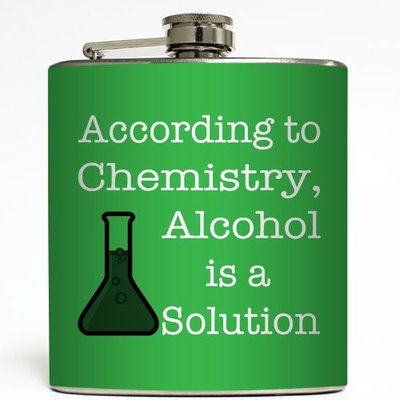 Alcohol is a Solution - Green - Liquid Courage Flasks - 6 oz. Stainless Steel Flask