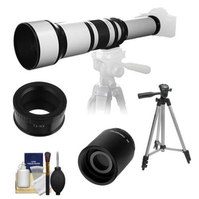 Samyang 650-1300mm f/8-16 Telephoto Lens (White) (T Mount) with 2x Teleconverter (=2600mm) + Tripod + Accessory Kit for Samsung NX20, NX200, NX210 & NX1000 Digital Cameras