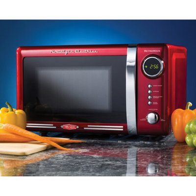 Nostalgia Electrics Retro Series 0.7-Cubic Foot Microwave Oven, Red, 1 ea