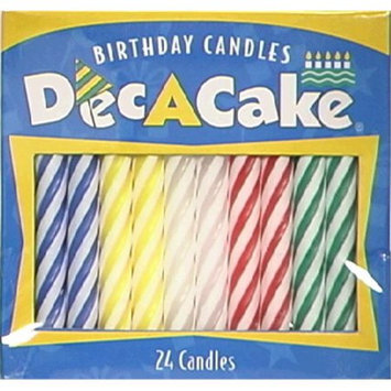 Dec-a-cake Candle Cndy Stripe Astd 24 PC (Pack Of 12)