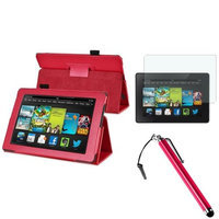 Insten INSTEN Red Leather Case Stand Cover+AG Protector/Stylus For Amazon Kindle Fire HD 7 2nd Gen