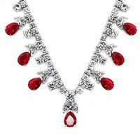 Emitations Bimala's Fancy Ruby CZ Pear Drop Necklace