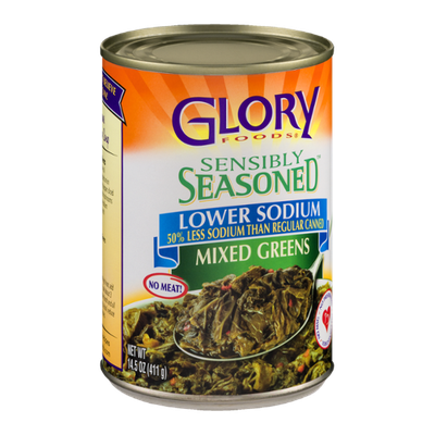 Glory Foods Sensibly Seasoned Mixed Greens Lower Sodium