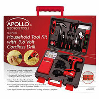 Apollo Household Tool Kit with 9.6 Volt Cordless Drill - Red (155 Pc)