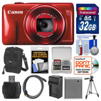 Canon PowerShot SX600 HS Wi-Fi Digital Camera (Red) with 32GB Card + Case + Battery & Charger + Tripod + HDMI Cable + Kit