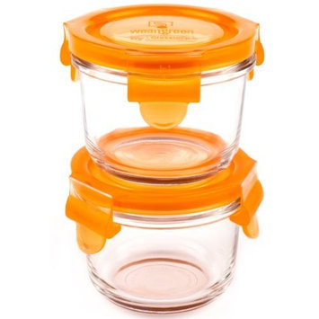 Wean Green Round Wean Bowls 6oz/165ml Baby Food Glass Containers - Carrot (Set of 2)