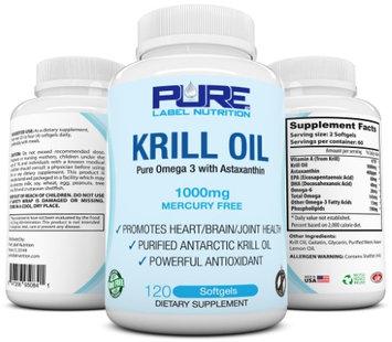 Krill Oil 1000mg w Astaxanthin (120 caps) PURE-K Top Rated #1 Fish Oil Omega 3 6 9 - EPA DHA - 100%