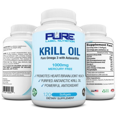 Krill Oil 1000mg w Astaxanthin (120 caps) PURE-K Top Rated #1 Fish Oil Omega 3 6 9 - EPA DHA - 100%
