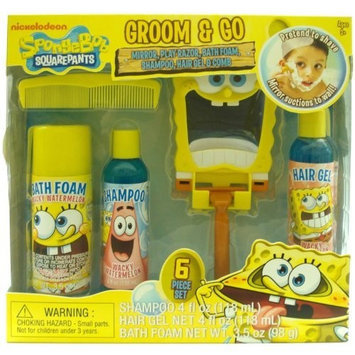 mzb Nickelodeon Spongebob Boys Groom & Go Gift Set - Includes Mirror, Play Razor, Bath Foam, Shampoo, Hair Gel & Comb