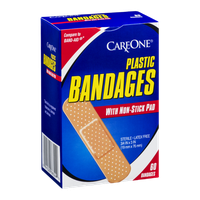 CareOne Plastic Bandages with Non-Stick Pad - 60 CT