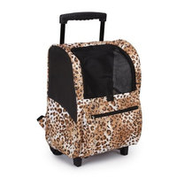 Casual Canine Animal Print Small Pet BackPack on Wheel, Cheetah