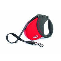 Flexi Durabelt Soft Grip Retractable Belt Dog Leash, Medium/Large, 16-Feet Long, Supports up to 77-Pound, Red/Grey