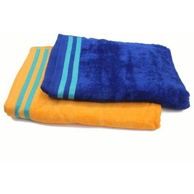 Trendsetter Homes Set of 2 Ultra Luxurious 100% Cotton Velvet Bath Towel 1 Royal Blue & 1 Orang.