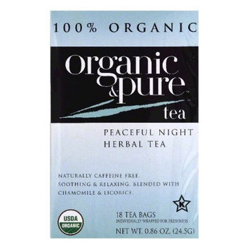 Organic & Pure Organic and Pure Peaceful Night Herbal Tea, - Pack of 6