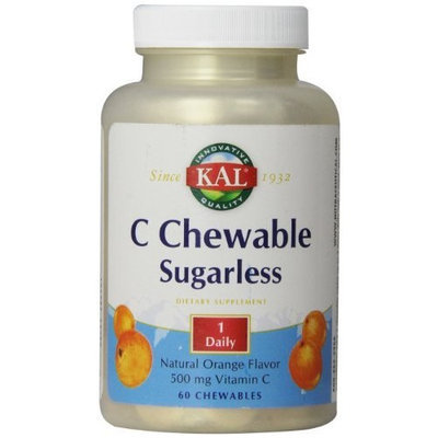 KAL Vitamin C Chewable Tablets, Sugarless Orange, 500 mg, 60 Count